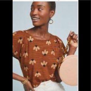 Eva Franco short sleeve flower top . NWT